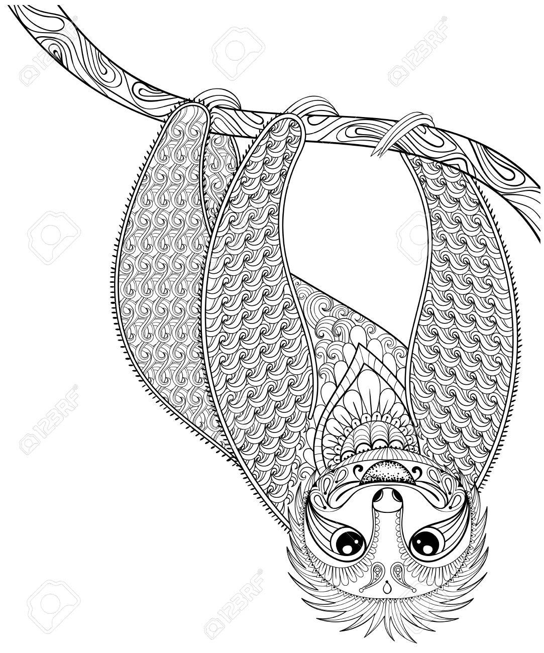 Vector Zentangle Sloth Print For Adult Coloring Page Hand Drawn
