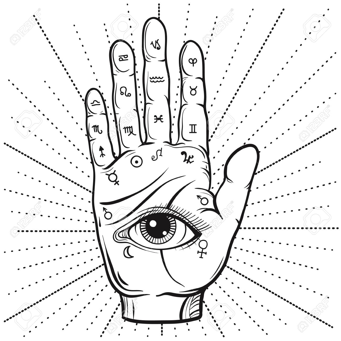 hight resolution of fortune teller hand with palmistry diagram hand drawn all seeing eye stock vector