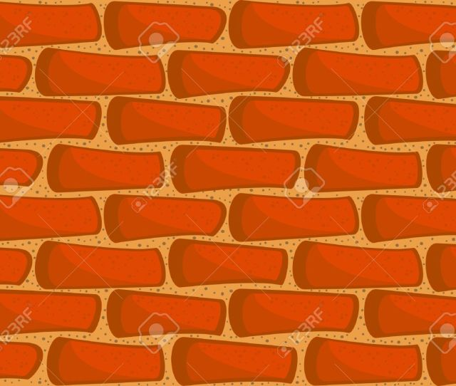 A Fragment Of A Brick Wall Seamless Vector Texture Wallpaper In A Cartoon Style