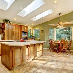 Kitchen Skylights Drying Rack Large Green Country With And Wood Cabinets Stock Photo 12913930