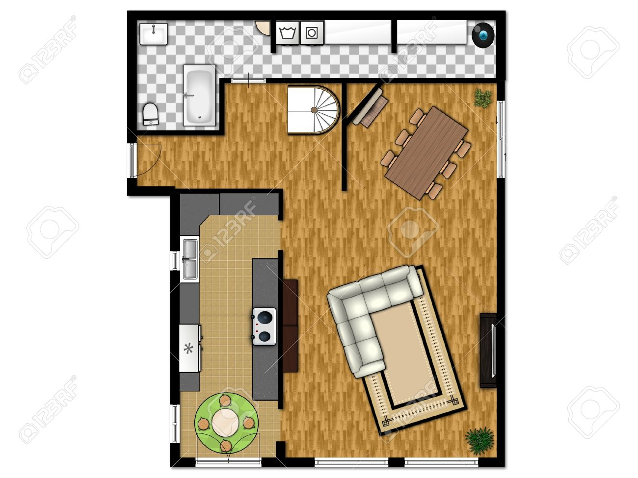 plan d etage 2d du premier niveau avec cuisine salon salle de bains et buanderie