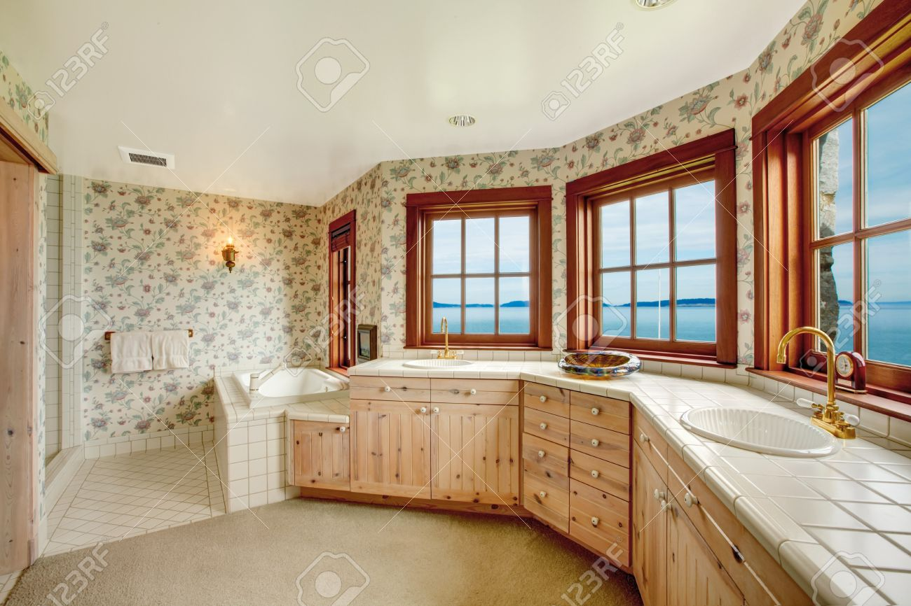 https www 123rf com photo 26537111 floral walls bathroom with french windows tile and carpet floor view of wood plank paneled storage c html