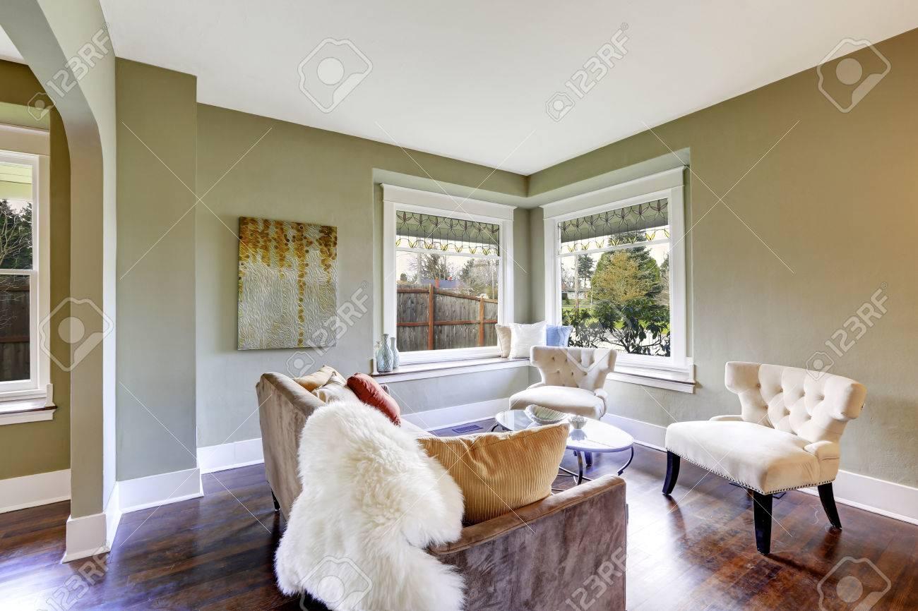 petit salon avec deux chaises classiques verre table basse et canape marron avec des coussins et tapis de fourrure banque d images et photos libres de droits image 30283113