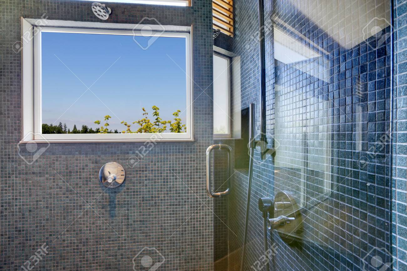 navy tile wall trim with window and glass door stock photo picture and royalty free image image 31088015