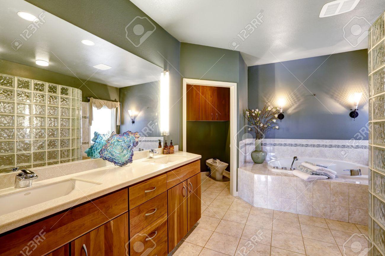 salle de bains spacieuse avec des murs vert fonce et carrelage beige meuble de rangement brown avec un grand miroir et un bain a remous baignoire banque d images et photos libres de