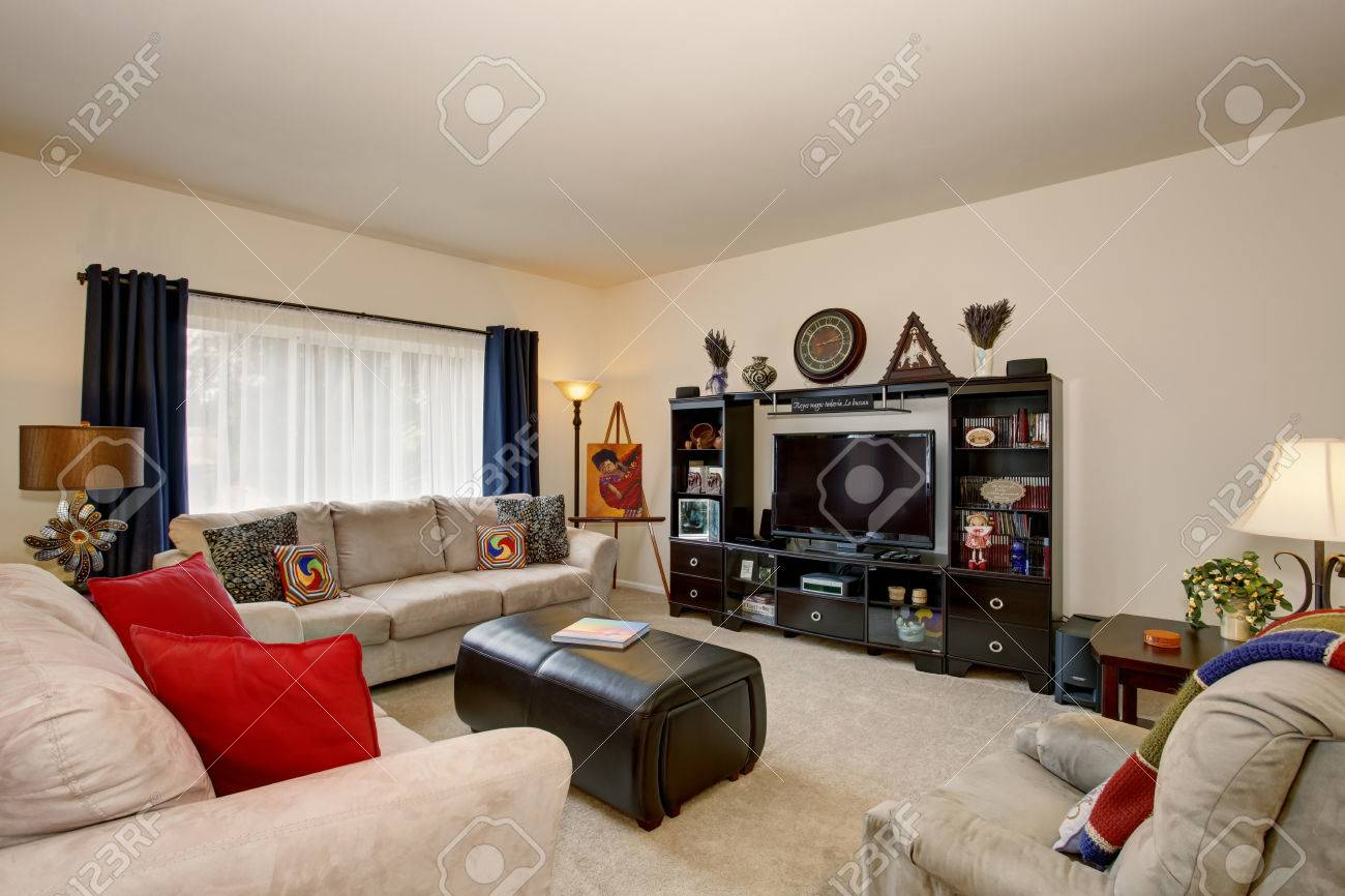beige sofa set sofas and loveseats at big lots cozy living room with red pillows black cabinet open shelves
