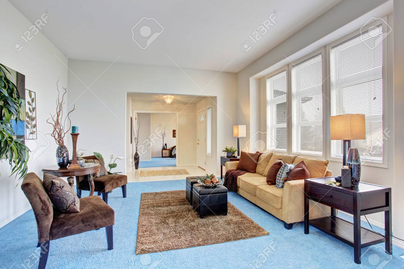 living room with carpet best light grey paint color for cozy modern blue floor and beige sofa stock photo 59957831