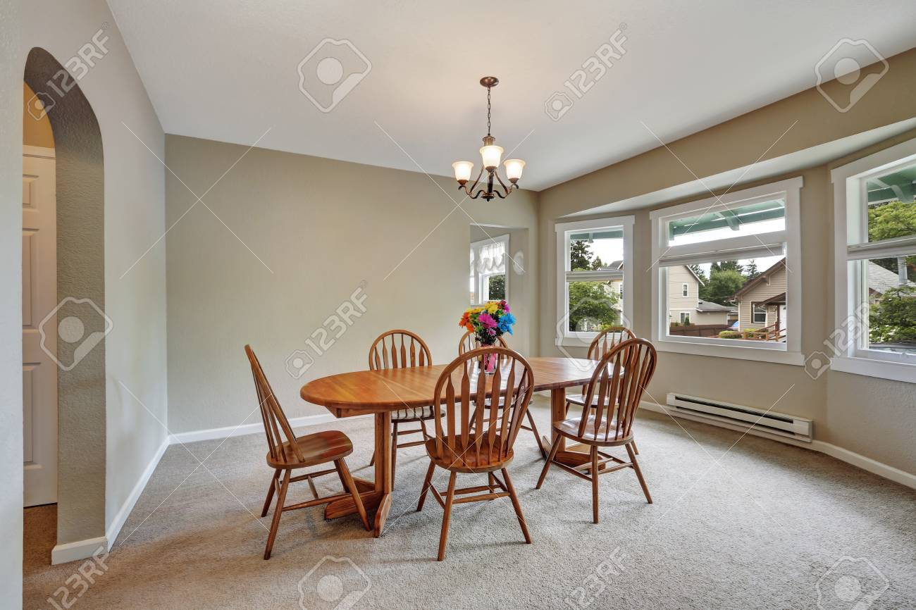 Beige Dining Room Interior With Round Wall Carpet Floor Wooden Stock Photo Picture And Royalty Free Image Image 67378593