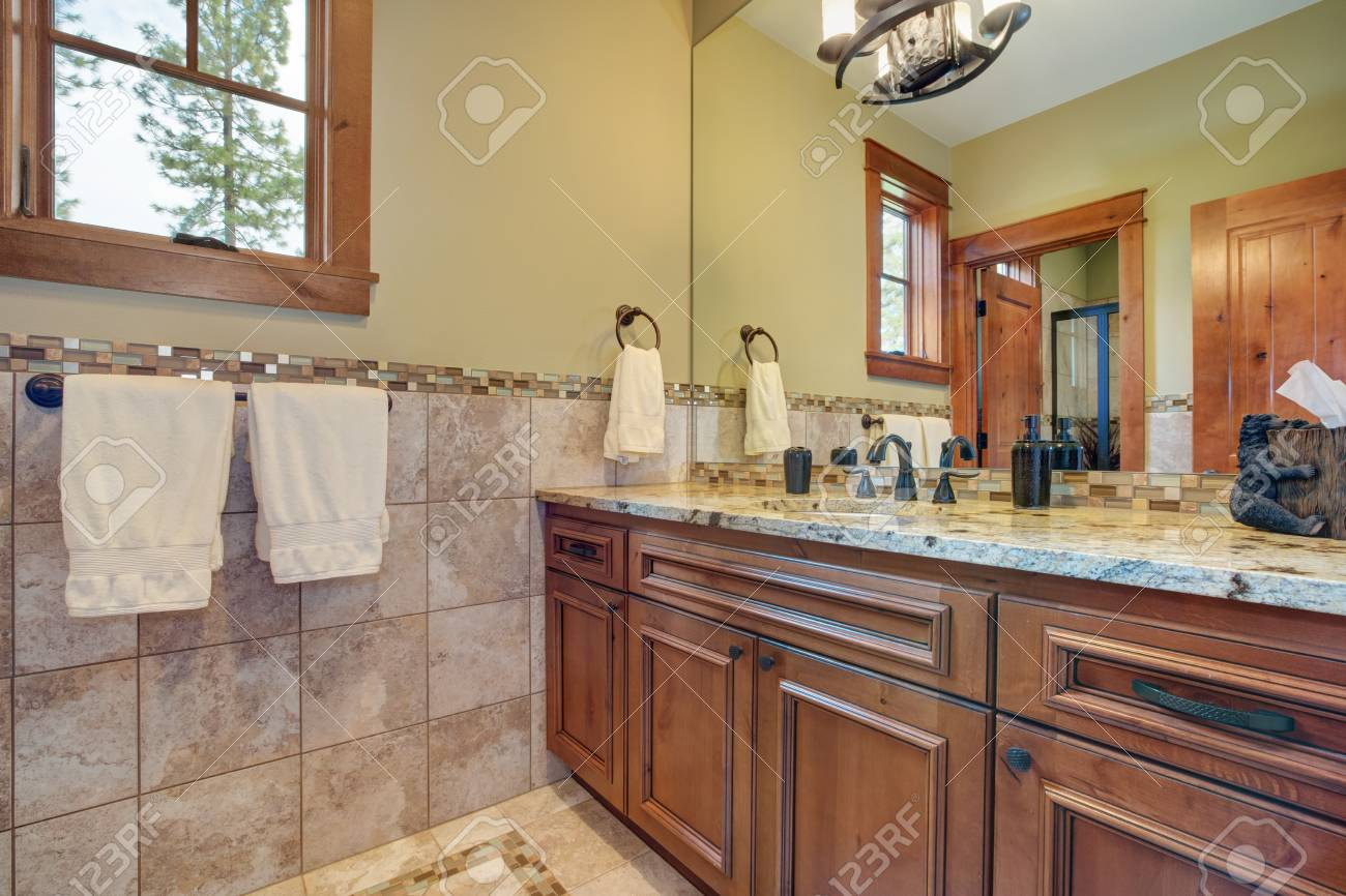 Master Bathroom Interior Bathroom Vanity Topped With Granite Stock Photo Picture And Royalty Free Image Image 96973856