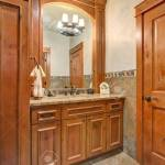 Bathroom Interior With Wooden Bathroom Vanity Topped With Marble Stock Photo Picture And Royalty Free Image Image 97561427