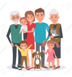 big family vector illustration big family with children parents grandparents and pets  [ 1300 x 1300 Pixel ]