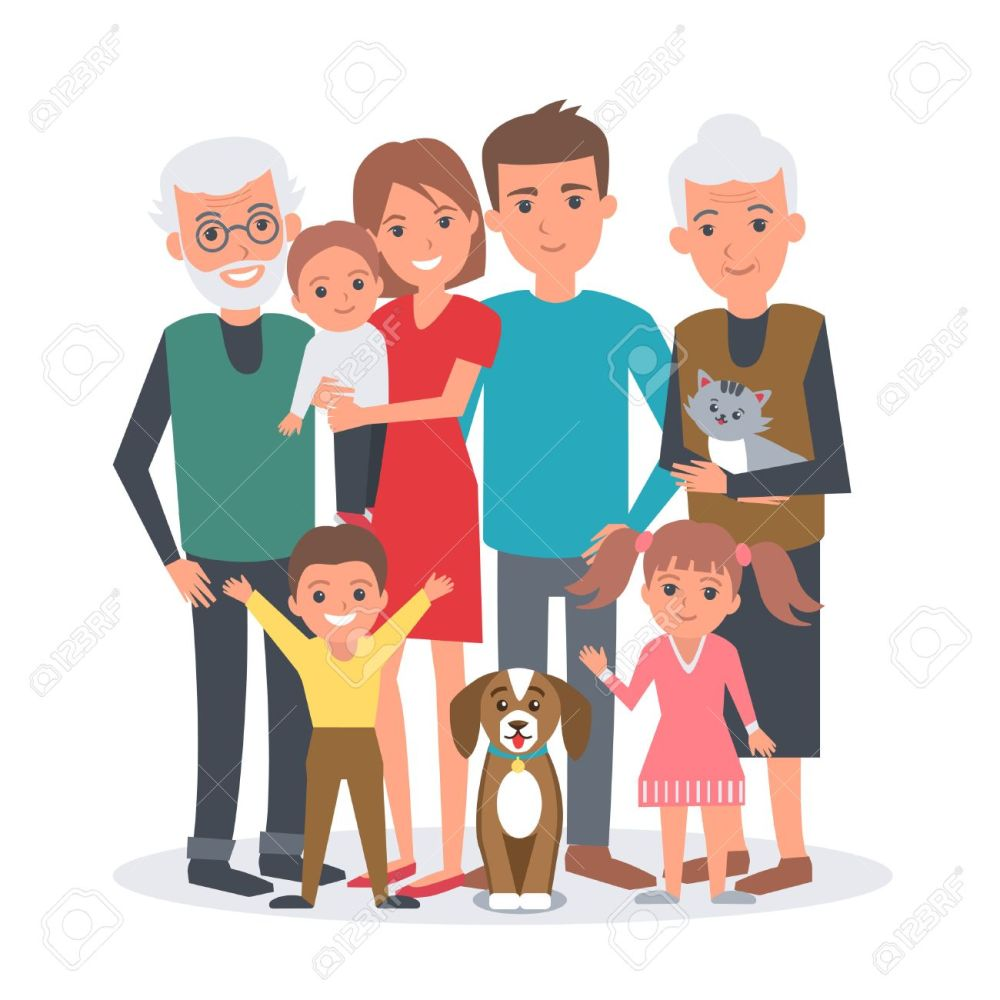 medium resolution of big family vector illustration big family with children parents grandparents and pets