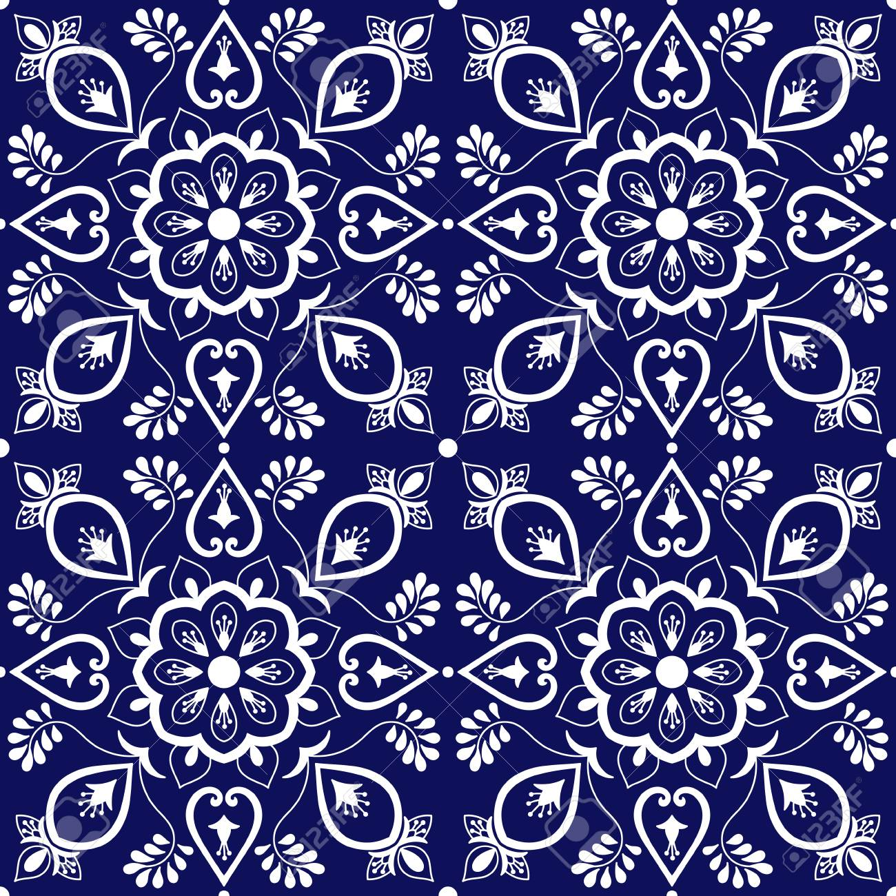 tile mexican pattern vector with blue and white ornaments portuguese
