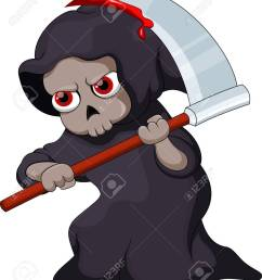 cute cartoon grim reaper with a bloody scythe stock vector 31727377 [ 1098 x 1300 Pixel ]