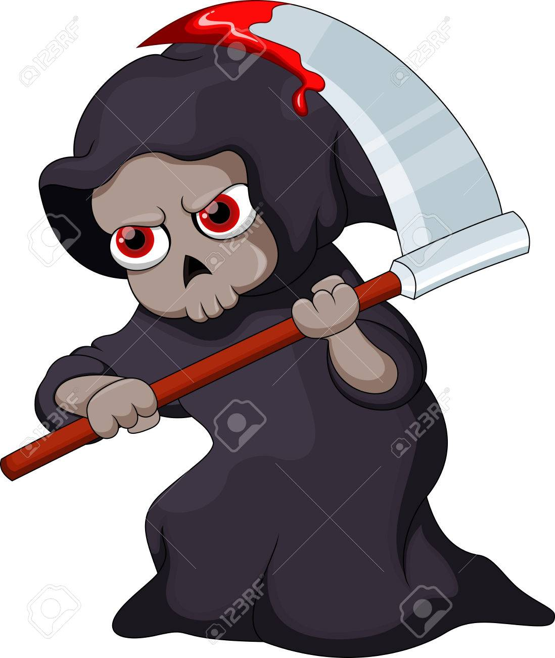 hight resolution of cute cartoon grim reaper with a bloody scythe stock vector 31727377