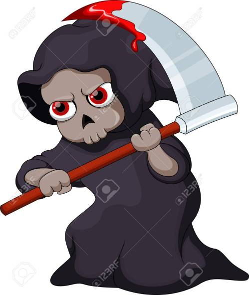 small resolution of cute cartoon grim reaper with a bloody scythe stock vector 31727377