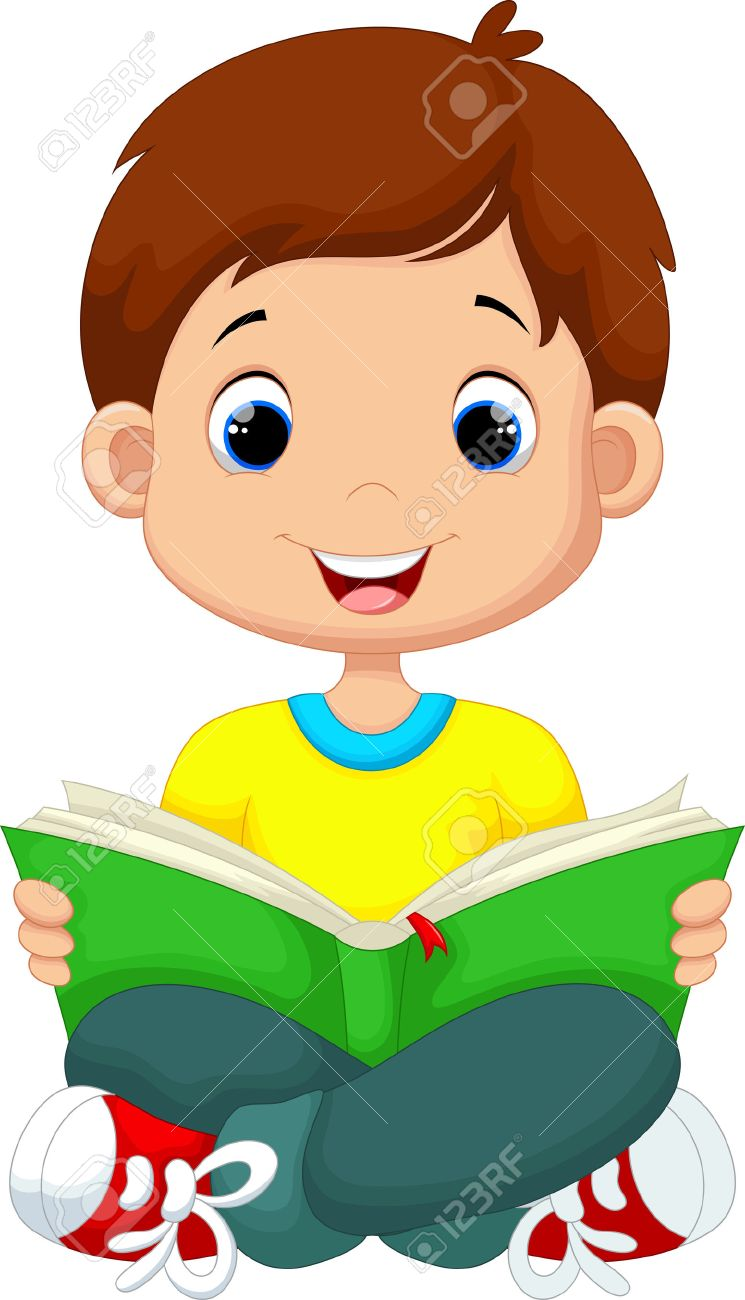 hight resolution of little boy reading a book stock vector 41721987