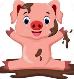 funny pig playing in the mud stock vector 43530035 [ 1300 x 1159 Pixel ]