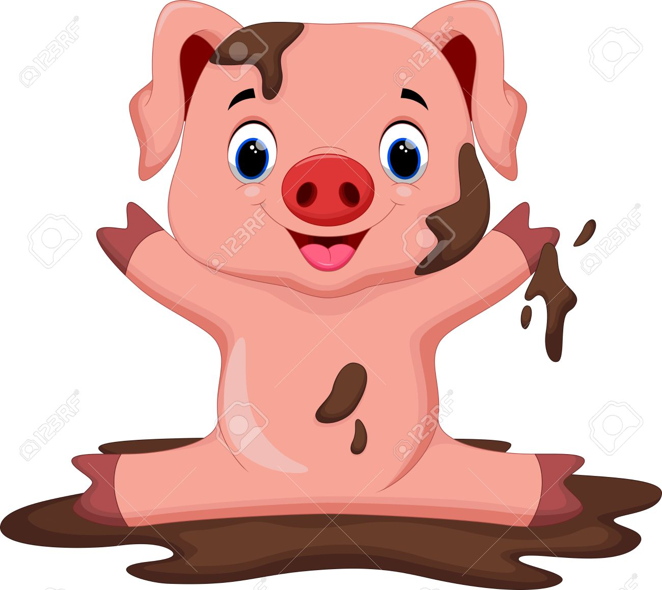 hight resolution of funny pig playing in the mud stock vector 43530035