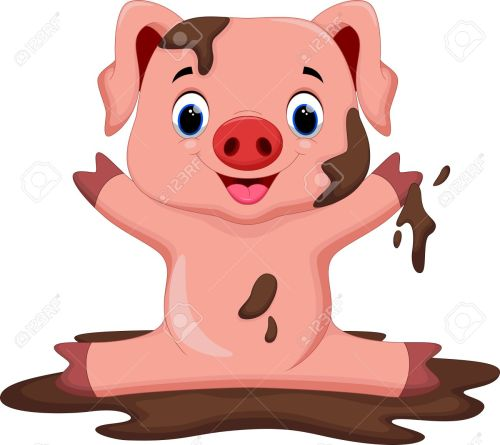 small resolution of funny pig playing in the mud stock vector 43530035