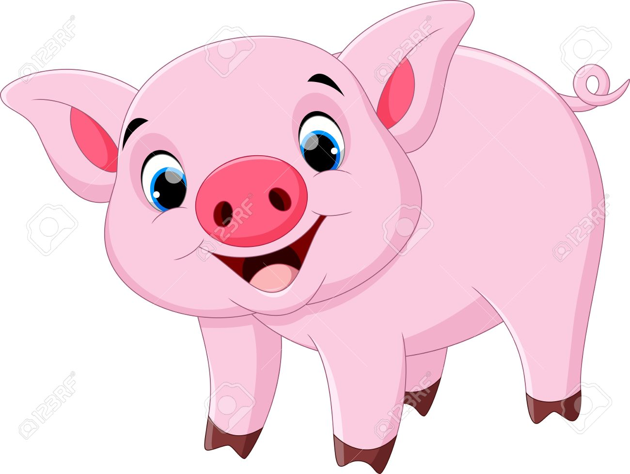 hight resolution of cute pig cartoon stock vector 55360479