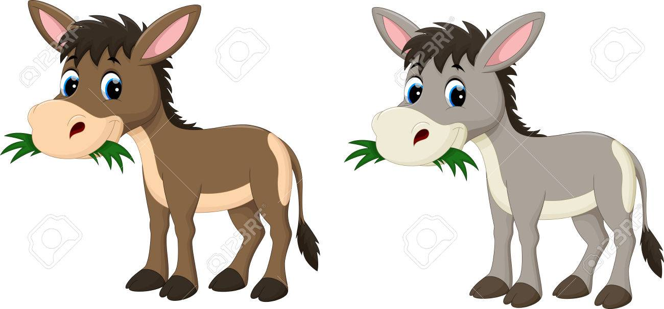 hight resolution of funny donkey eating grass stock vector 56063507