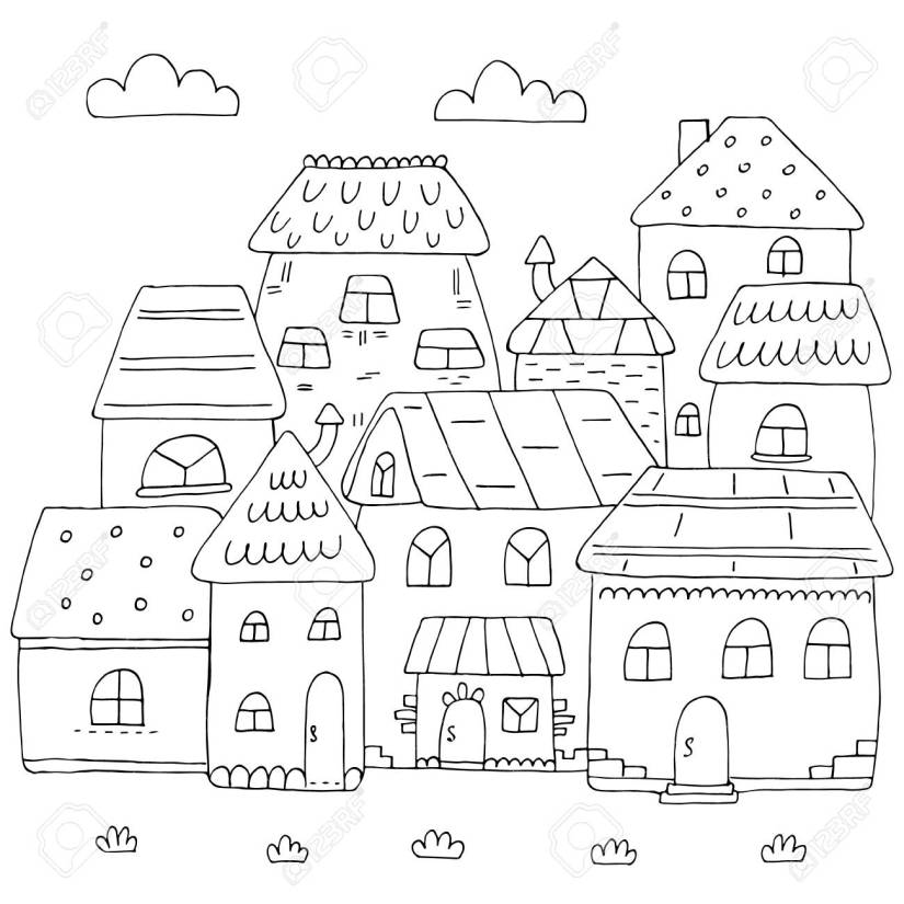 hand drawn page for coloring book with a lot of houses. a small..