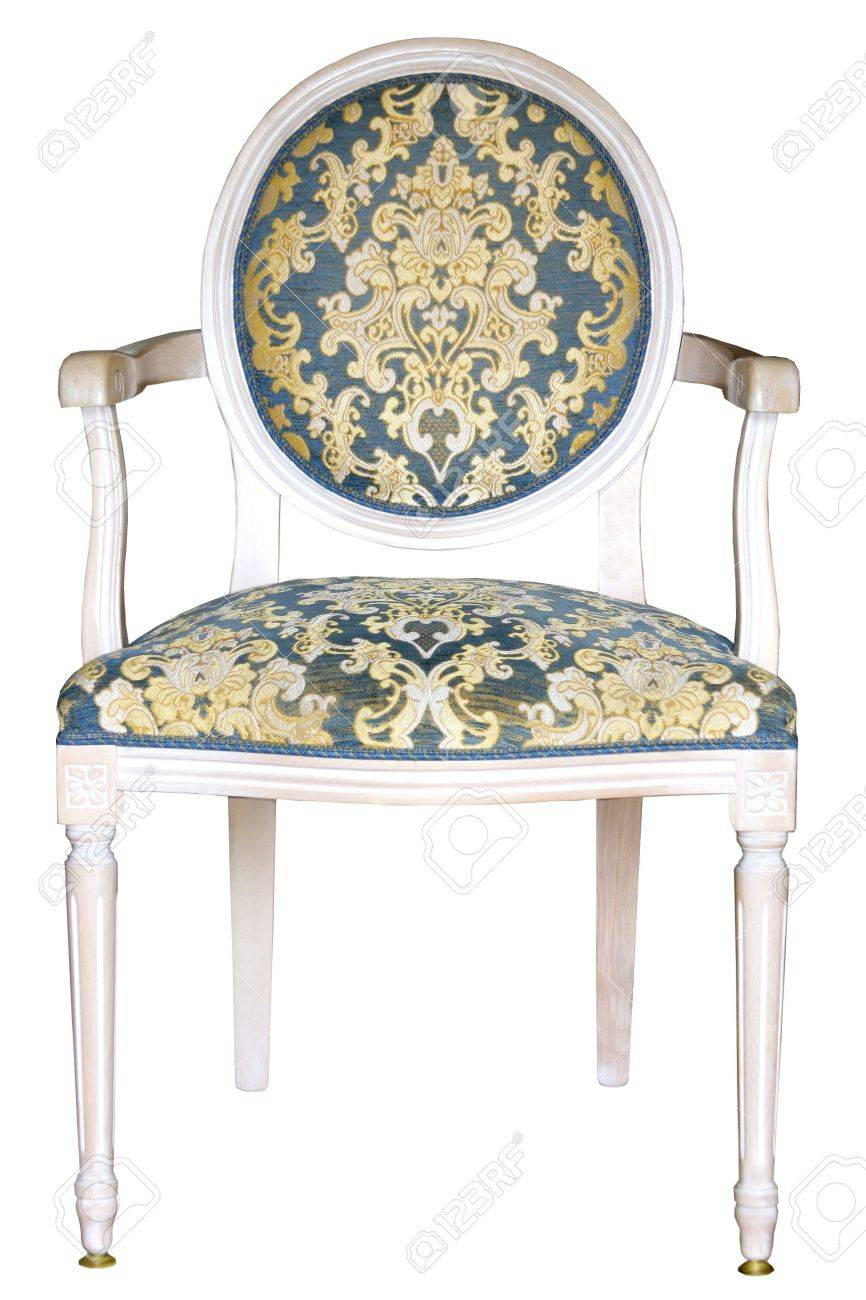 Damask Chair Antique Italian Arm Chair Upholstered With Blue Gold Damask