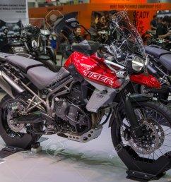 bangkok thailand december 11 2017 triumph tiger 800 xca presented in motor [ 1300 x 1030 Pixel ]