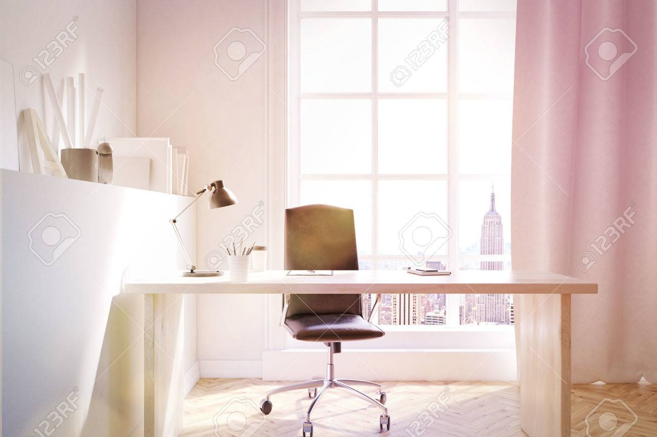 desk chair york gummy bear study in new flat with and curtains on large stock photo window concept of home job 3d rendering mock up toned image