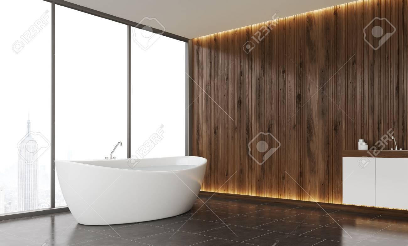 comfortable bathroom interior with dark wood wall tile floor