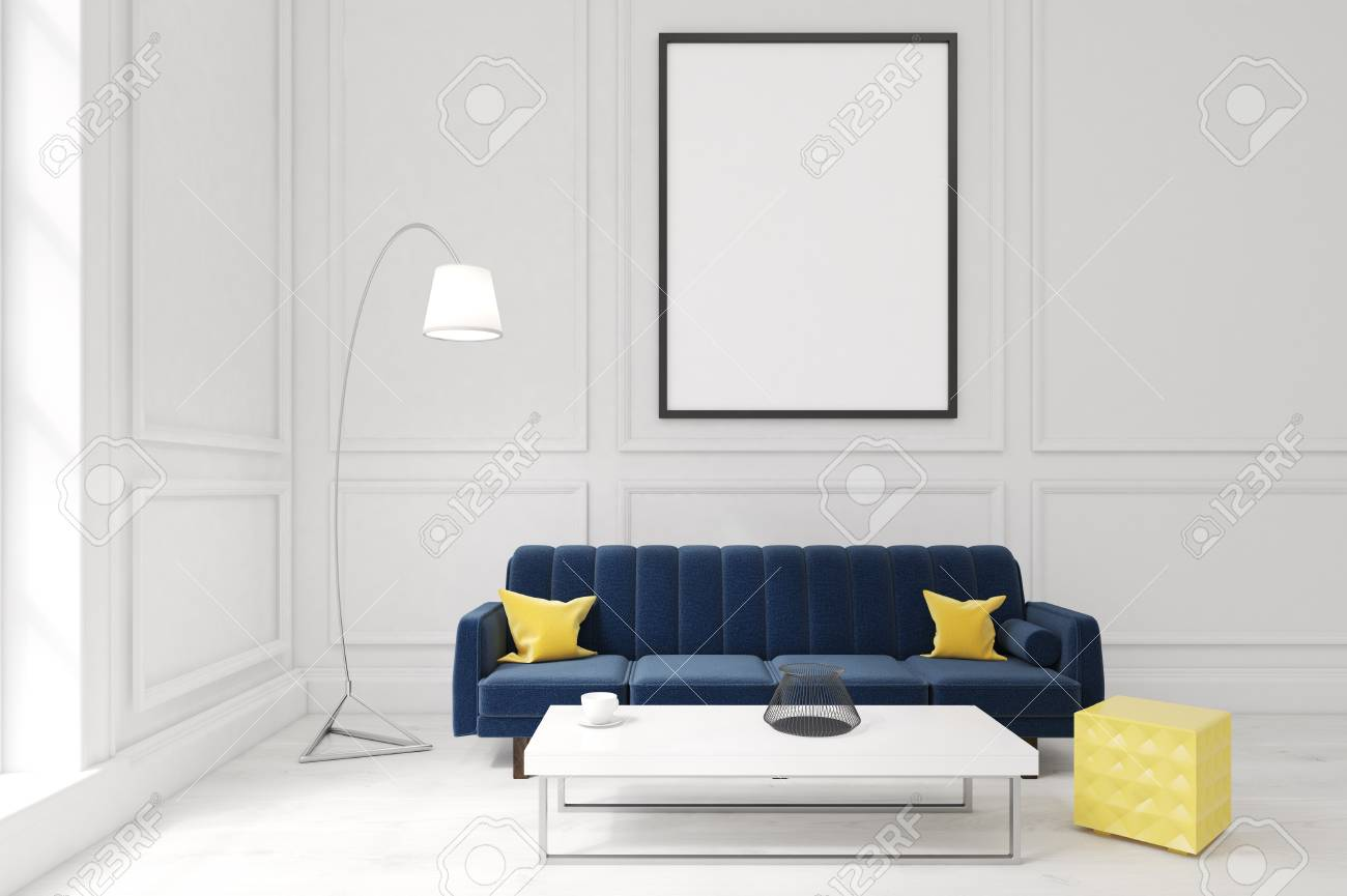 living room interior with white walls large blue sofa with cushions