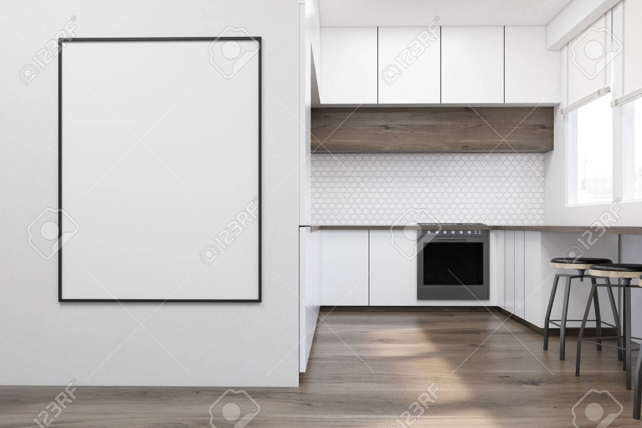 framed prints for kitchens kitchen cabinet door modern interior with white furniture wooden table and an oven a poster