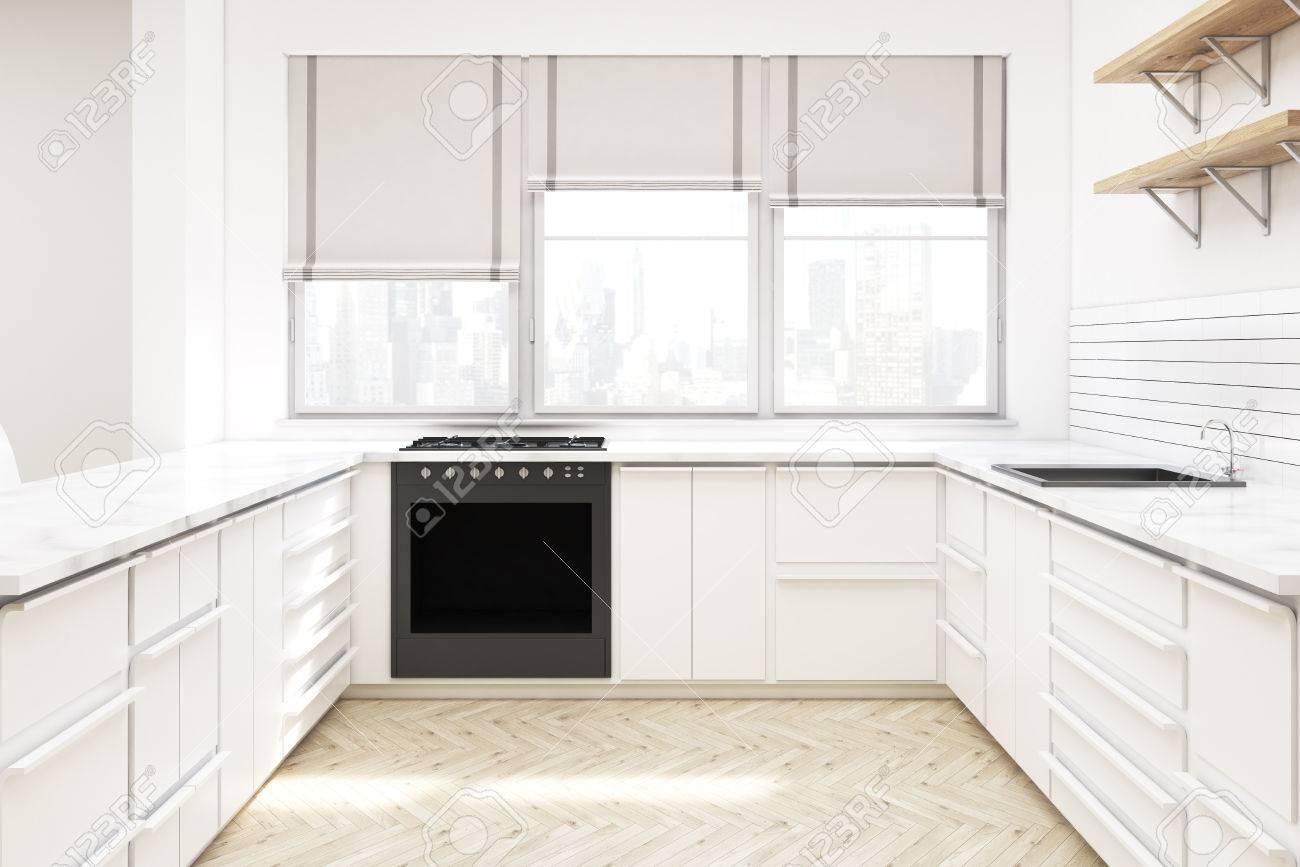 interieur de cuisine avec meuble blanc etageres en bois sur le mur comptoirs four et fenetres avec nuances rendu 3d maquette