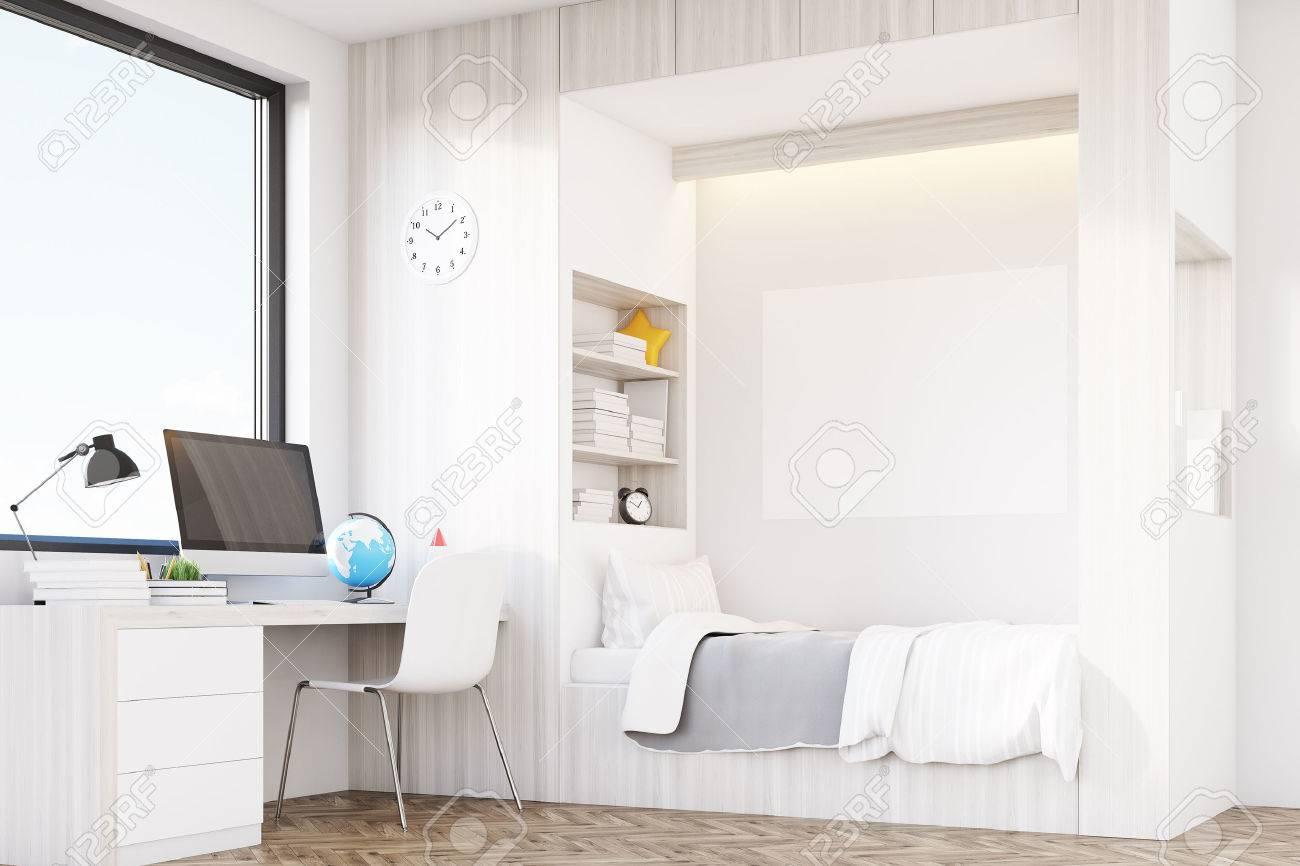 chambre moderne d un enfant avec un lit une bibliotheque integree a proximite un bureau avec un ordinateur et une grande fenetre unisexe