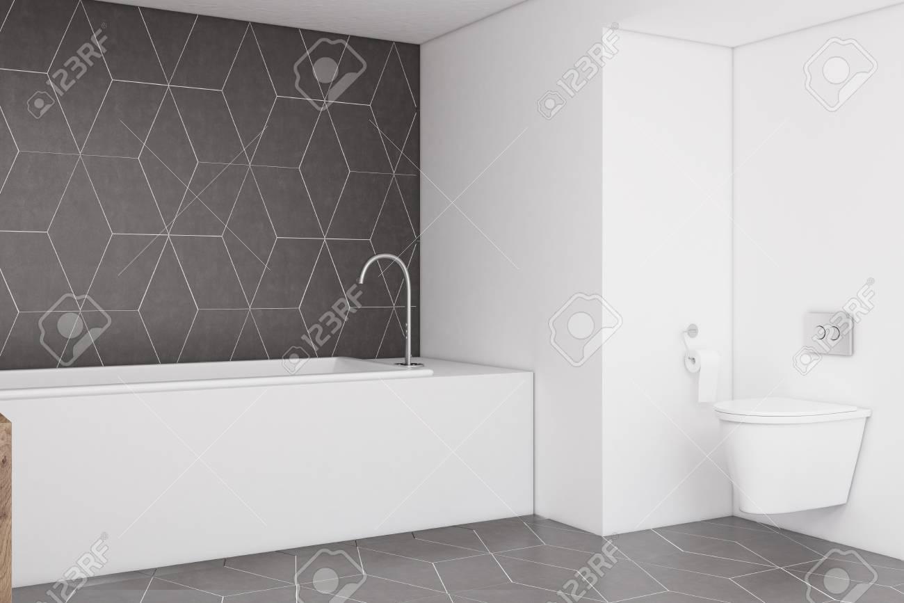 vue laterale d une salle de bain avec un mur gris fonce un evier en bois et une baignoire rectangulaire concept d une maison confortable rendu 3d