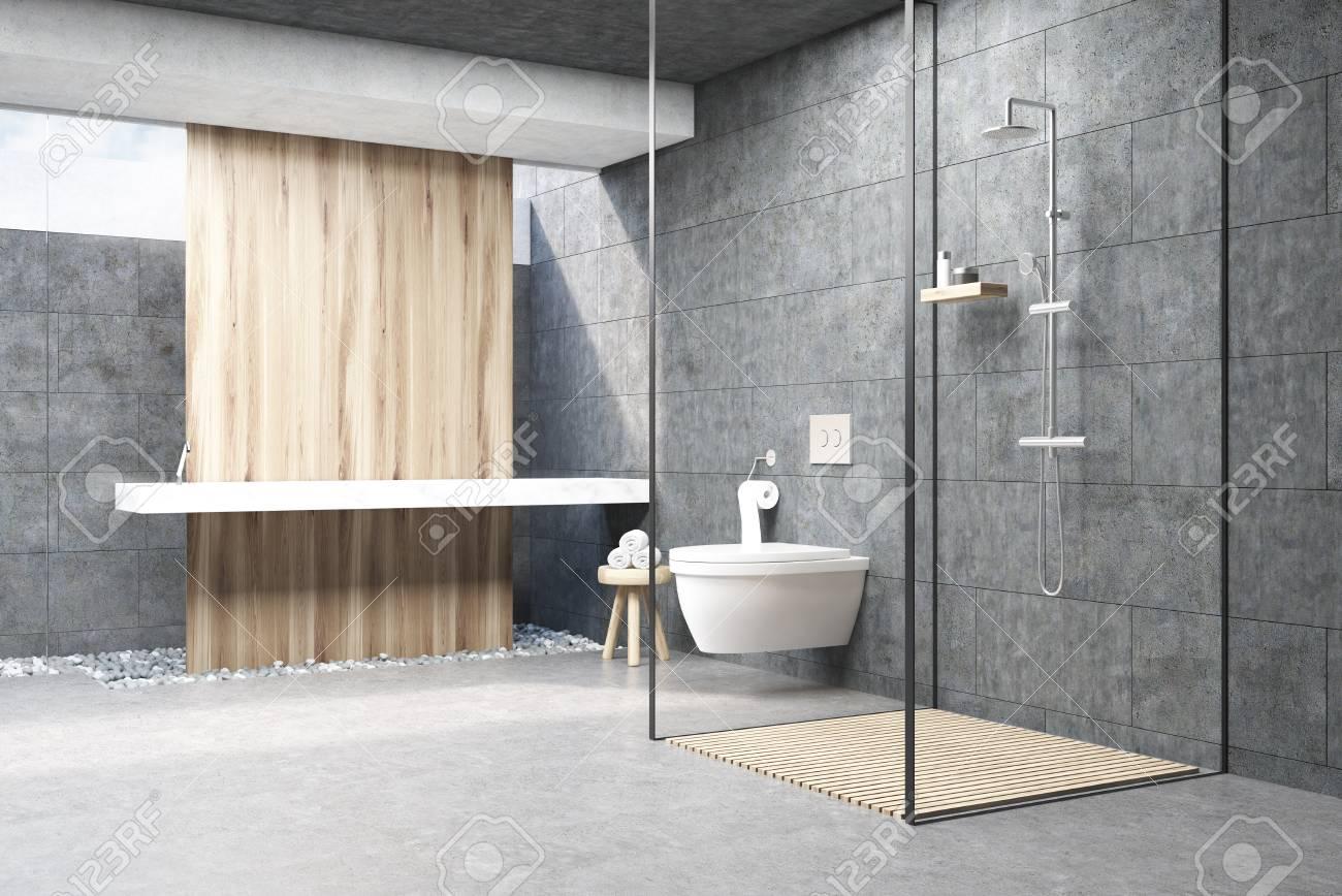 interieur de salle de bain gris fonce avec un panneau en bois une douche avec des murs en verre un double evier et une toilette rendu 3d