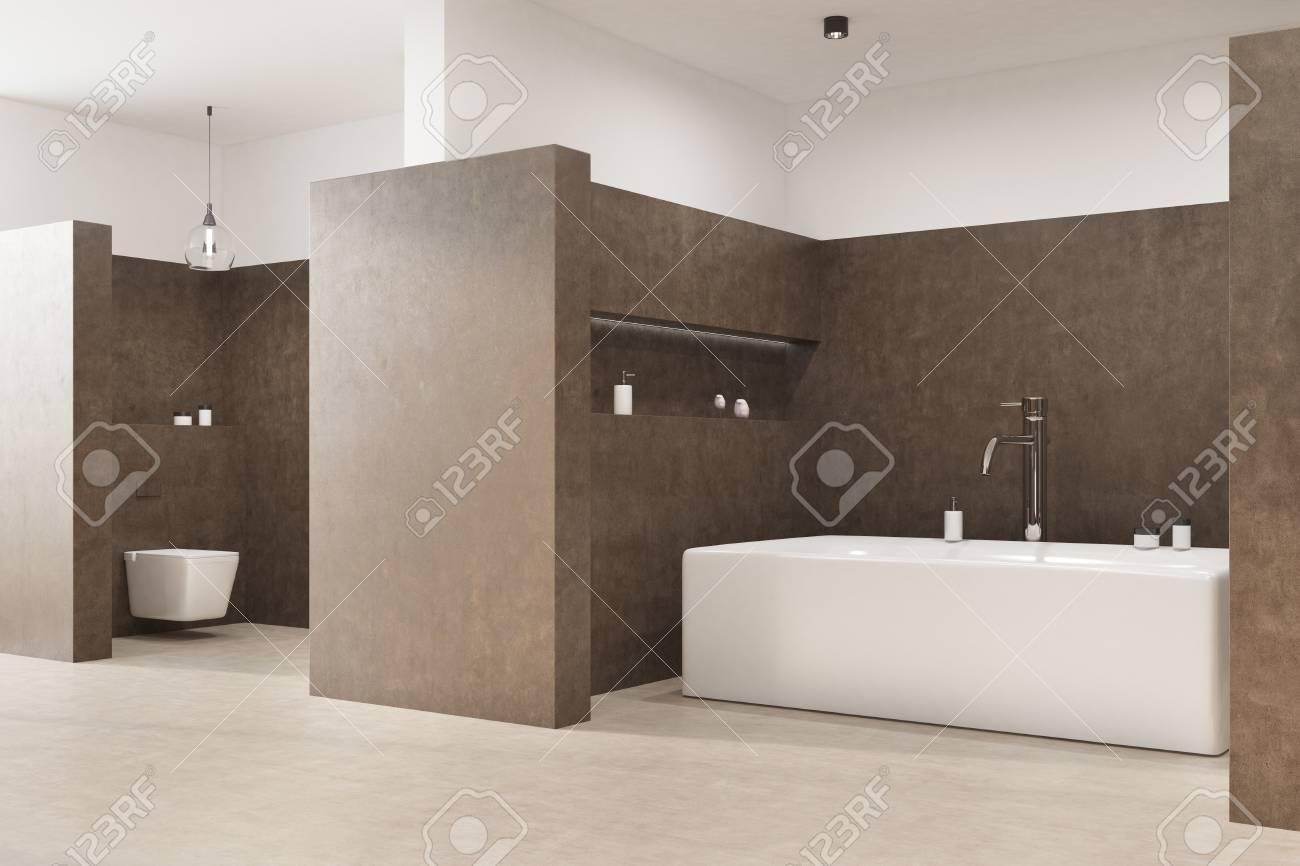 interieur de la salle de bain marron avec un sol blanc une baignoire angulaire des toilettes et une lampe d origine vue de cote rendu 3d maquette