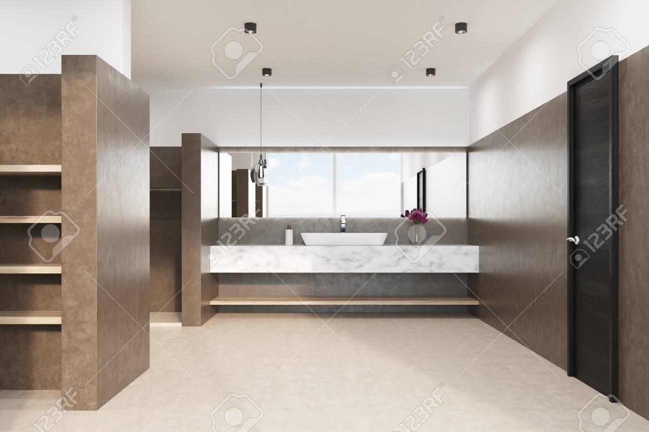 interieur de salle de bain marron avec sol blanc douche lavabo en marbre et lampe d origine fleurs dans un vase vue de face rendu 3d maquette
