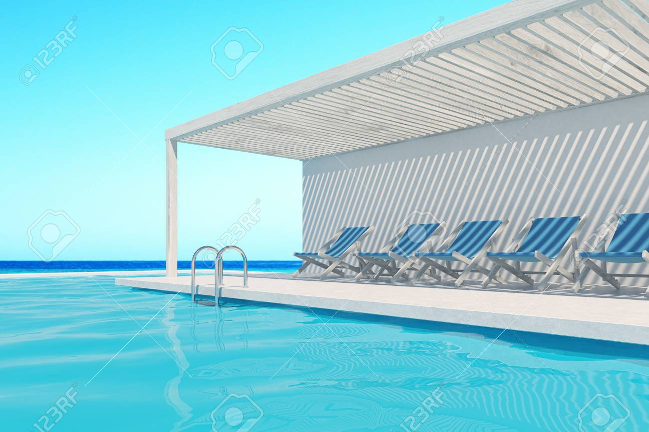 Pool Deck Chairs Row Of Blue Deck Chairs Along A Swimming Pool A Cloudless Sky