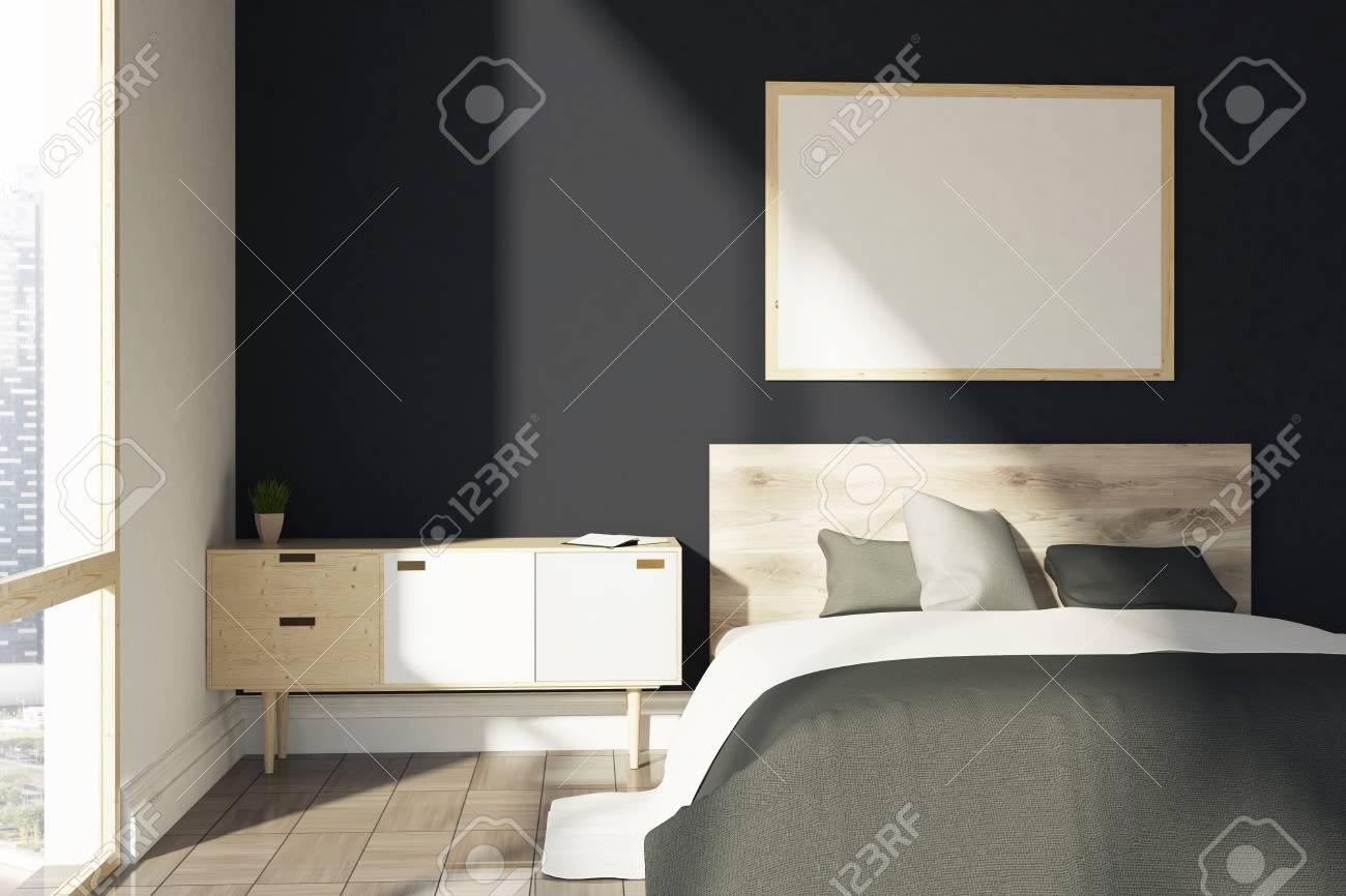 Intérieur De Chambre Noire Avec Une Couverture Grise Un Lit Double Un Meuble  En Bois Et Une Fenêtre Loft Une Affiche Horizontale Sur Un Mur