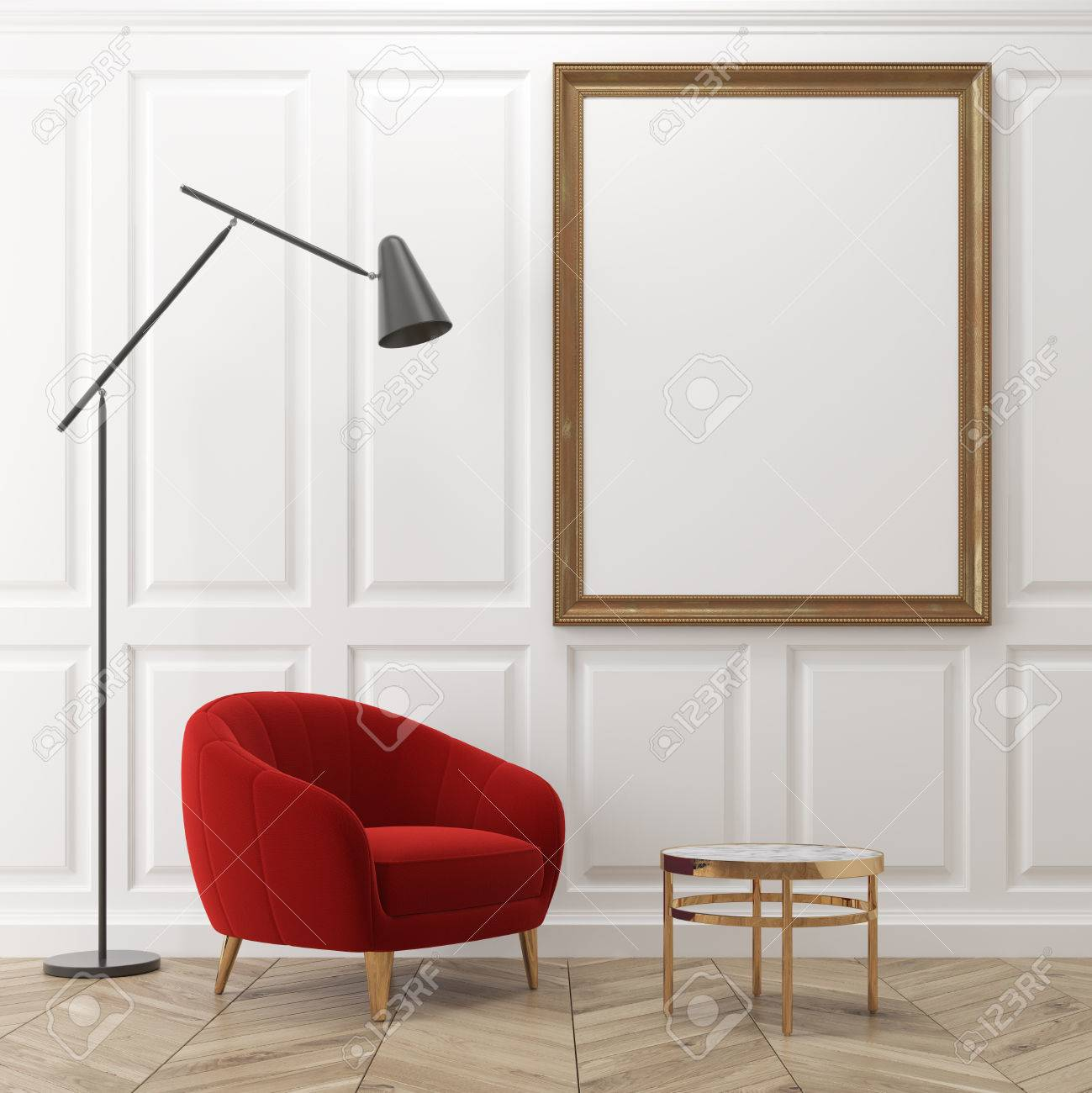 white living room interior with dark gray walls a red armchair