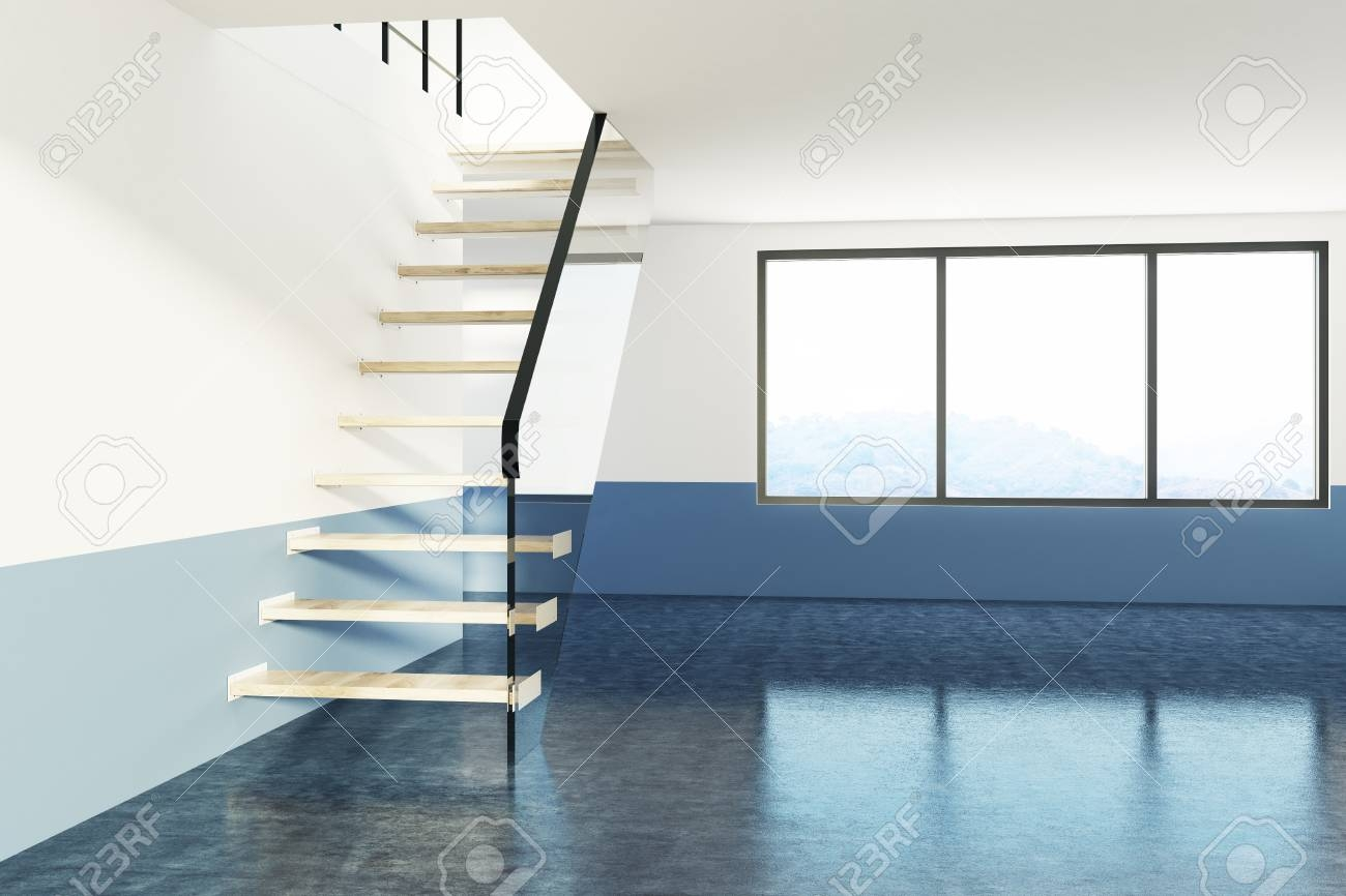 Glass And Wooden Staircase In A Large Empty Apartment With White   White Wood And Glass Staircase   Design   70'S   Thick Solid Oak Stair   Bannister   Indoor Glass