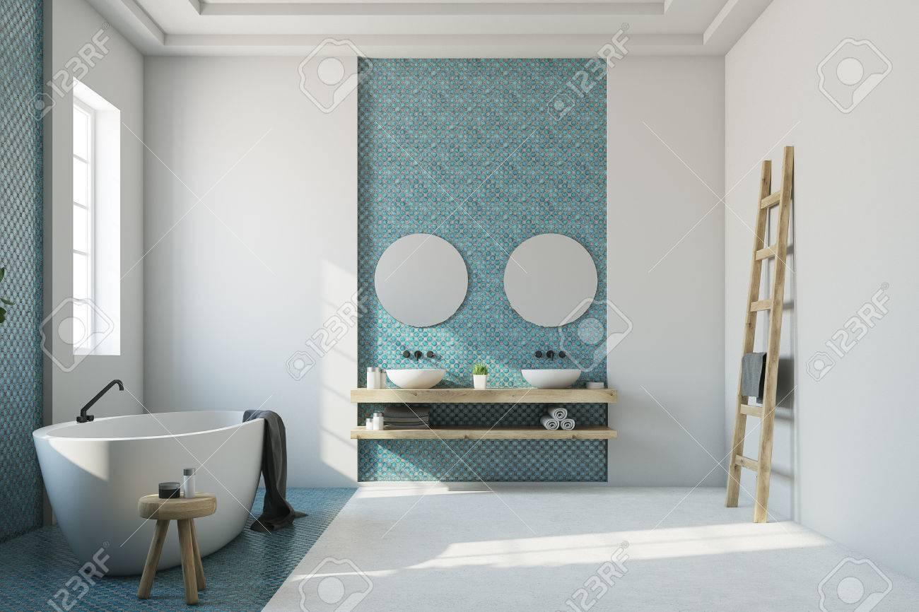 interieur de salle de bain blanc avec une mosaique bleue un sol blanc et bleu une baignoire ovale un double lavabo et deux miroirs ronds maquette