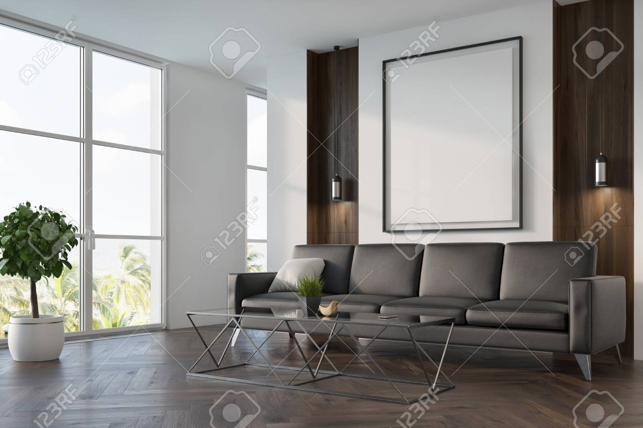dark oak floor living room firewood holder upscale interior with white and wooden walls a stock photo large window soft gray sofa coffee table