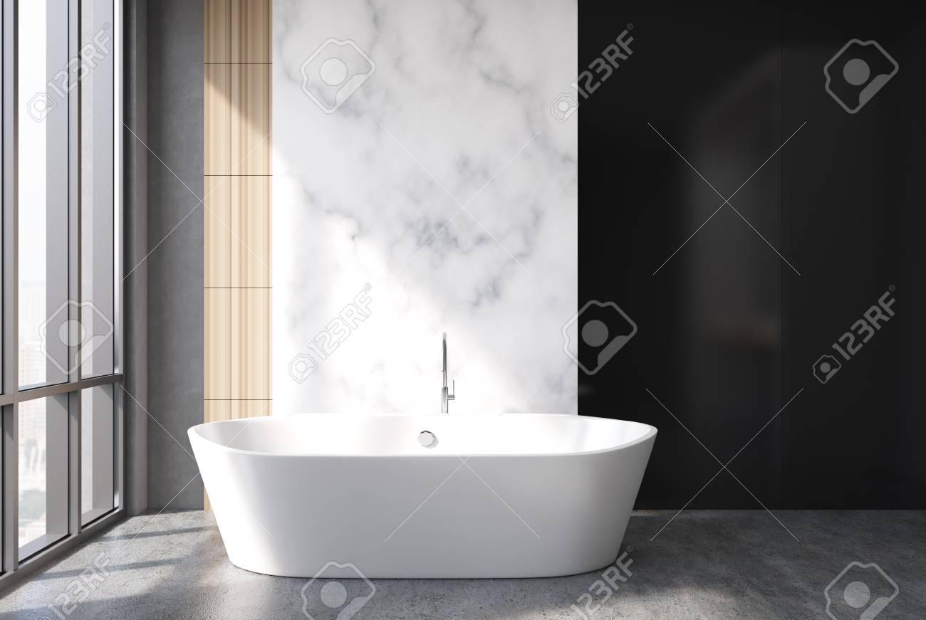 marbre blanc interieur de salle de bain noir et bois avec un sol en beton une baignoire ronde et une grande fenetre maquette 3d
