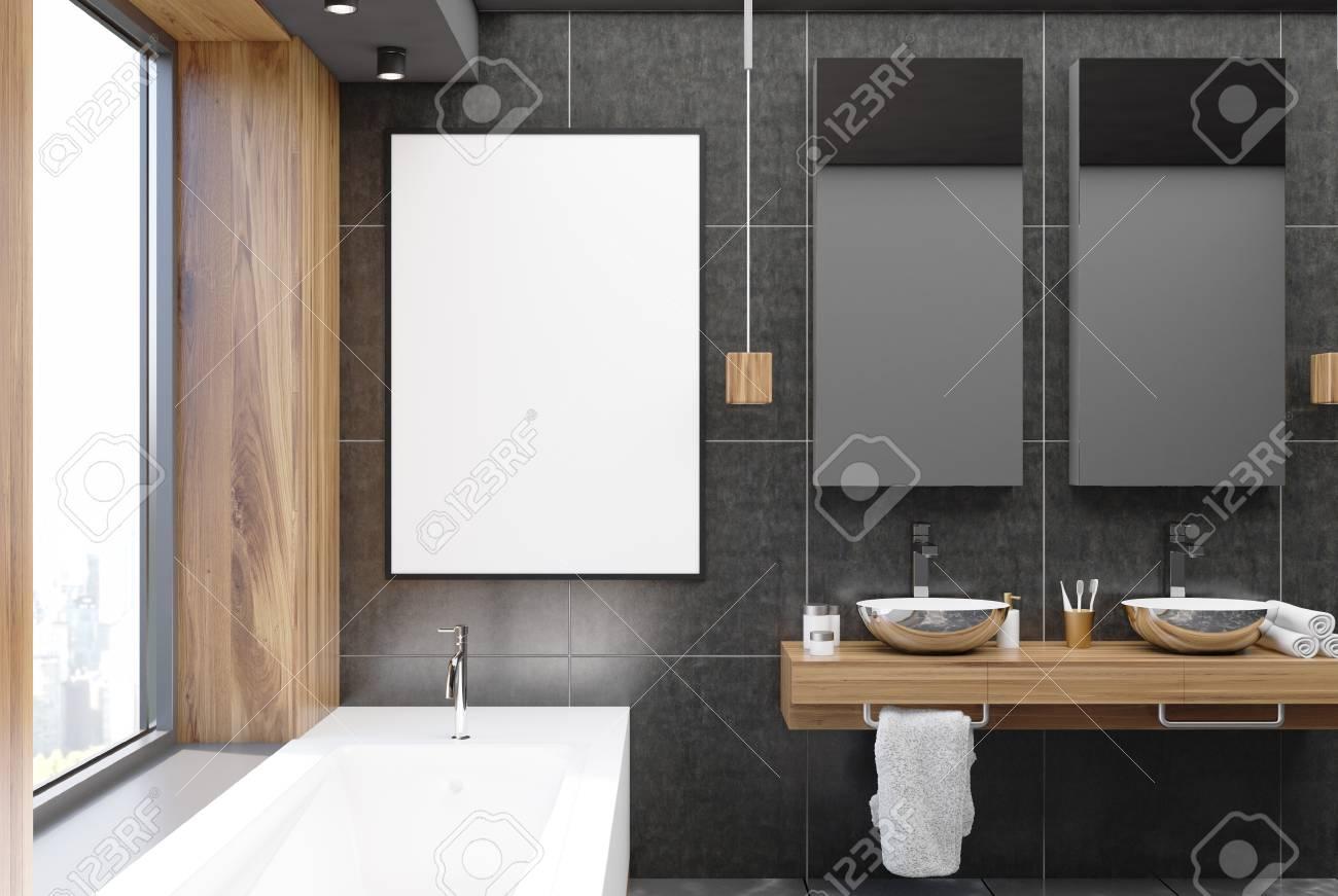 interieur de salle de bain gris et bois avec sol en beton baie vitree baignoire blanche et deux lavabos une affiche rendu 3d maquette