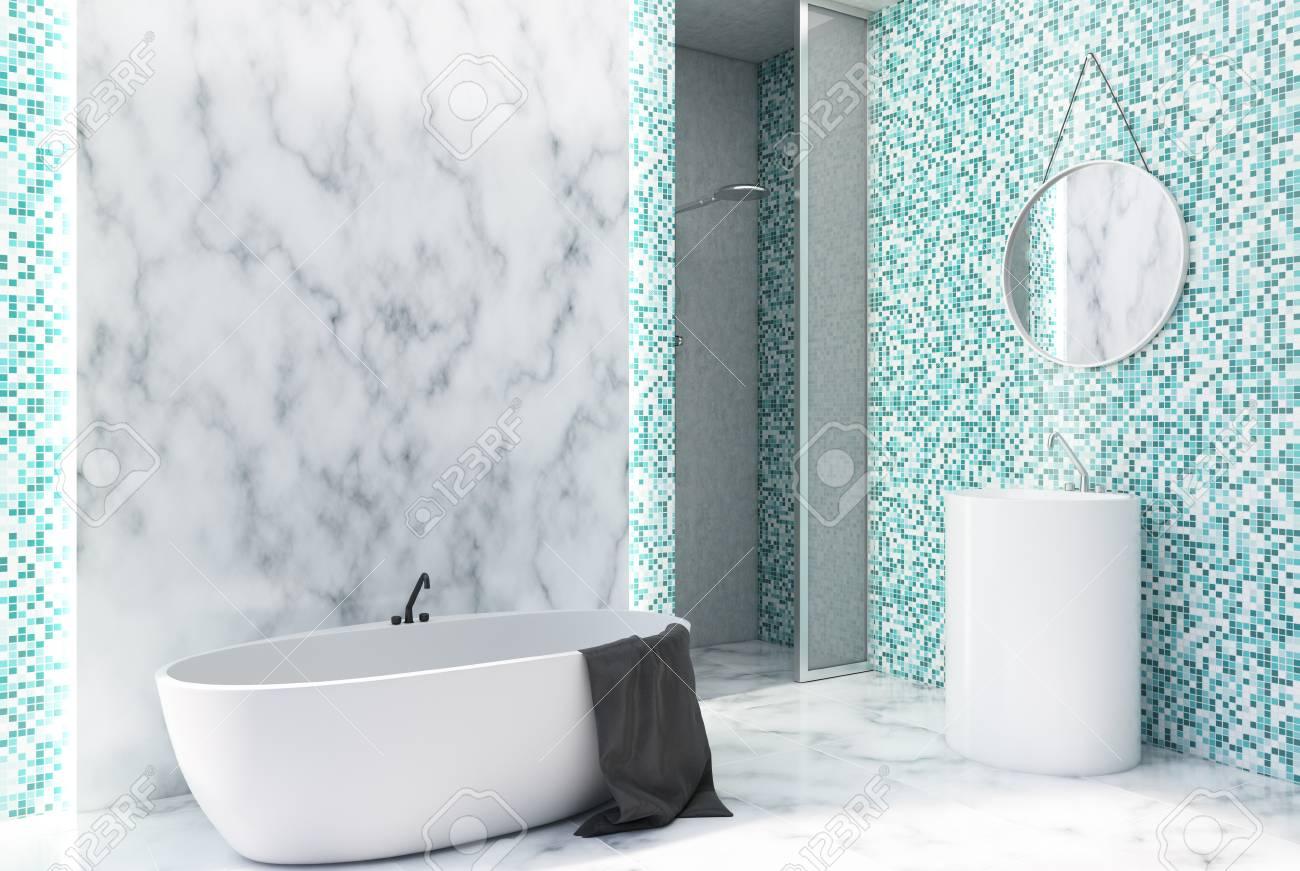 interieur de salle de bains en marbre blanc et carrelage vert avec sol en marbre baignoire blanche et lavabo rond avec miroir rendu 3d maquette