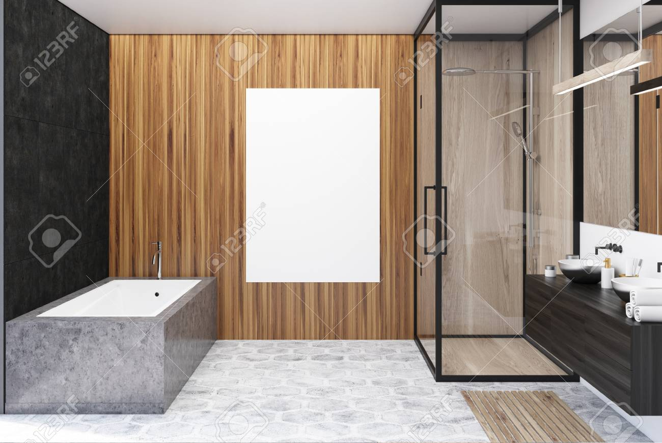 Black And Wooden Bathroom Interior With A Gray Floor An Angular