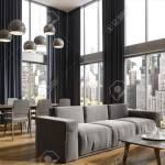 Panoramic Living Room Corner With White Walls Large Windows Stock Photo Picture And Royalty Free Image Image 92614573